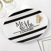 Personalized Anniversary Glass Platter - Wedded Pair - 17010