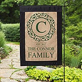 Circle & Vine Monogram Personalized Burlap Garden Flag - 17015