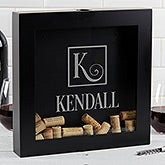 Personalized Wine Cork Shadow Box - Square Monogram - 17020