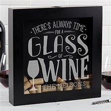 Personalized Wine Cork Shadow Box - There's Always Time For Wine - 17022