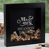 Personalized Wedding Wine Cork Shadow Box - The Happy Couple - 17024