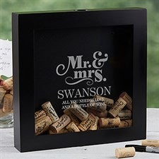 Personalized Wedding Wine Cork Shadow Box - The Happy Couple - 17024