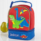 Embroidered Kids Dinosaur Lunch Bag By Stephen Joseph - Red Dino - 17029