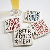 Personalized Tumbled Stone Coaster Set - Beer Goes Here - 17037
