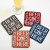 Personalized Bar Coaster Set - Beer Goes Here - 17038