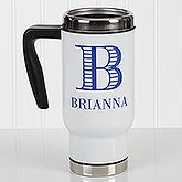 Personalized Striped Monogram Commuter Travel Mug - 17045