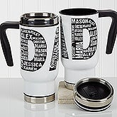 Personalized Commuter Travel Mug - Repeating Name For Him - 17050