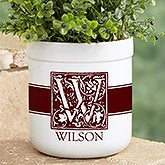 Personalized Outdoor Flower Pot - Floral Monogram - 17064