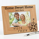 Personalized Romantic Compass Picture Frame - Latitude & Longitude - 17070