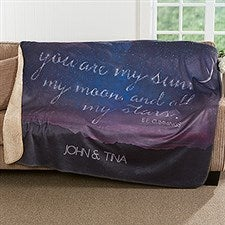 Personalized Romantic Premium Sherpa Blanket - Written In The Stars - 17150