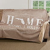 """State"" Of Love Personalized Premium Sherpa Blanket - 17151"