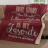 Personalized Romantic Premium Sherpa Blanket - Love Story - 17154