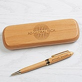 Personalized Logo Engraved Alder Wood Pen Set - 17186