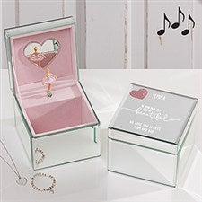 Personalized Baby Girl Mirrored Ballerina Music Box - Her Heart - 17194