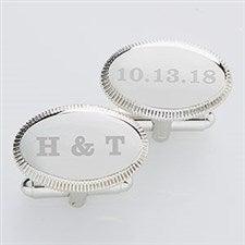 Engraved Wedding Silver Cufflinks - Wedding Date - 17209