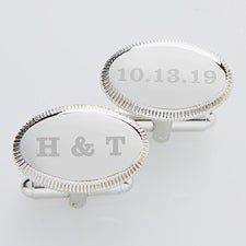 Engraved Wedding Silver Cufflinks - Wedding Date - 17209