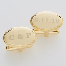 Engraved Wedding Gold Cufflinks - Wedding Date - 17210