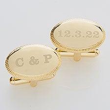 Engraved Wedding Gold Cufflinks - Wedding Date - 17210