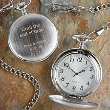 Wedding Day Engraved Silver Pocket Watch - 17213 & 25th Anniversary Gifts | Silver Anniversary Gifts