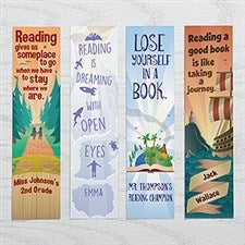 Personalized Book Lover Paper Bookmarks Set - Reading Quotes - 17225