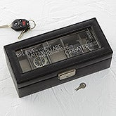 Leather 5 Slot Personalized Watch Box - Inspiring Messages - 17237