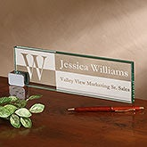 Sophisticated Personalized Glass Nameplate - 17252