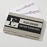 Black & Silver Personalized Business Card Case - 17254