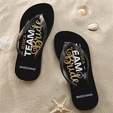 1652a6a0f04a Personalized Wedding Party Adult Flip Flops - Team Bride - 17308