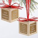 Personalized Baby Wood Block Ornament - A Grandparent Is Born - 17327D