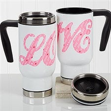 Personalized Romantic Commuter Travel Mug - L-O-V-E Sweethearts - 17364