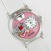 Personalized #-D Pink Nurse Watch - 17370D
