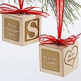 Personalized Newlywed Wood Block Ornament - Our First Christmas - 17378D