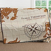 Personalized Retirement Woven Blanket - Compass Inspired - 17384