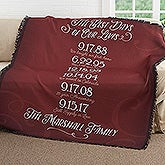 Personalized Anniversary Woven Throw Blanket - Our Best Days - 17385