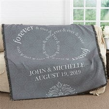 Personalized Anniversary Woven Throw Blanket - Forever & Ever - 17390