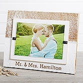 Mr. & Mrs. Personalized White Washed Genuine Beachwood Frame - 17410