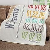 Personalized Sherpa Blanket - Family Milestone Dates - 17417