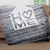 Personalized Family Fleece Blanket - Home Is Love - 17420