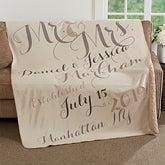Personalized Anniversary Premium Sherpa Blanket - Mr. & Mrs. - 17425