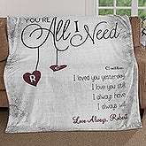 Personalized Romantic Fleece Blanket - You're All I Need - 17427