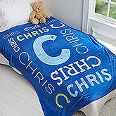 Personalized Repeating Name Kids Fleece Blanket - 17428