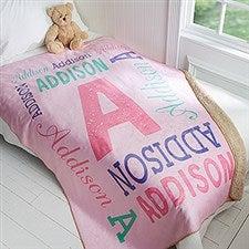 Personalized Kids Premium Sherpa Blanket - Repeating Name - 17429