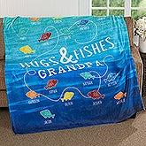 Personalized Fishing Fleece Blanket - Hugs & Fishes - 17434