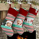 Personalized Photo Christmas Stockings - Candy Cane Stripe - 17443