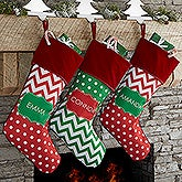 Personalized Chevron Christmas Stocking - Preppy Chic - 17445