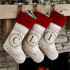 Monogrammed White Christmas Stockings - Holiday Wreath - 17446