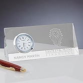 Corporate Logo Crystal Personalized Triangle Side Clock - 17448