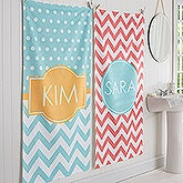 Personalized Chevron Bath Towel - Preppy Chic - 17453