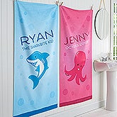 Personalized Sea Animals Bath Towels For Kids - Sea Creatures - 17460
