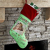 Personalized Baby Photo Christmas Stocking - Baby's 1st Christmas - 17461